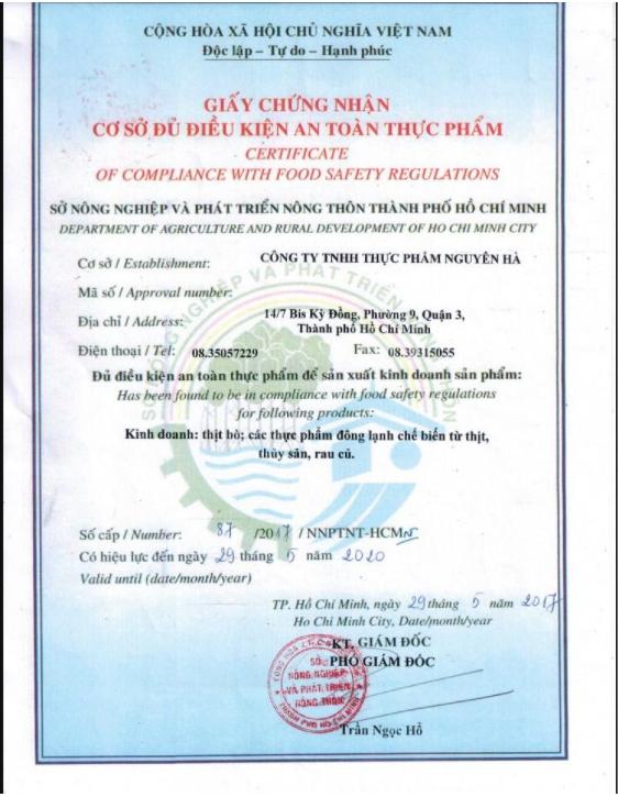 Quy trình xin giấy phép an toàn thực phẩm sản xuất chả lụa