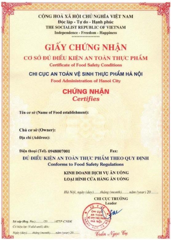 Hồ sơ xin giấy phép an toàn thực phẩm sản xuất thịt